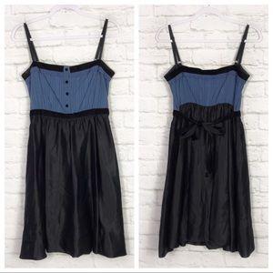 BCBGMAXAZRIA Eyelet Babydoll Silk Empire Dress XS